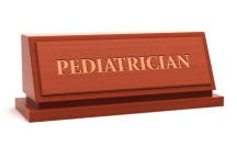 Pediatrician job title on nameplate
